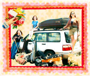 Gina, Beth and Lisa are gathered around the Subaru with all their instruments!